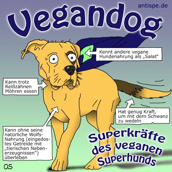 Superkräfte des veganen Superhundes